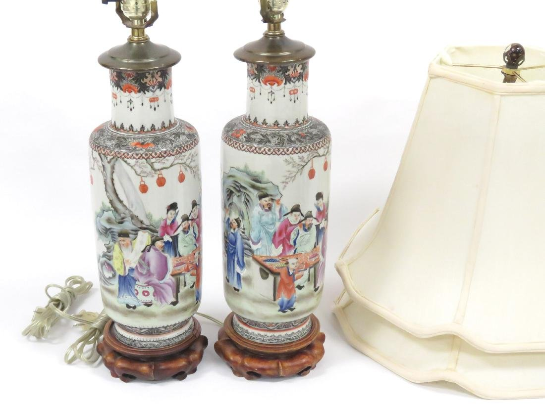 PAIR CHINESE FAMILLE ROSE DECORATED PORCELAIN ROLEAU