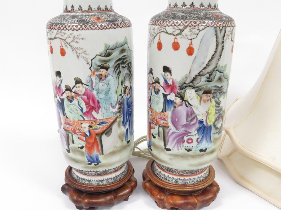 PAIR CHINESE FAMILLE ROSE DECORATED PORCELAIN ROLEAU - 2