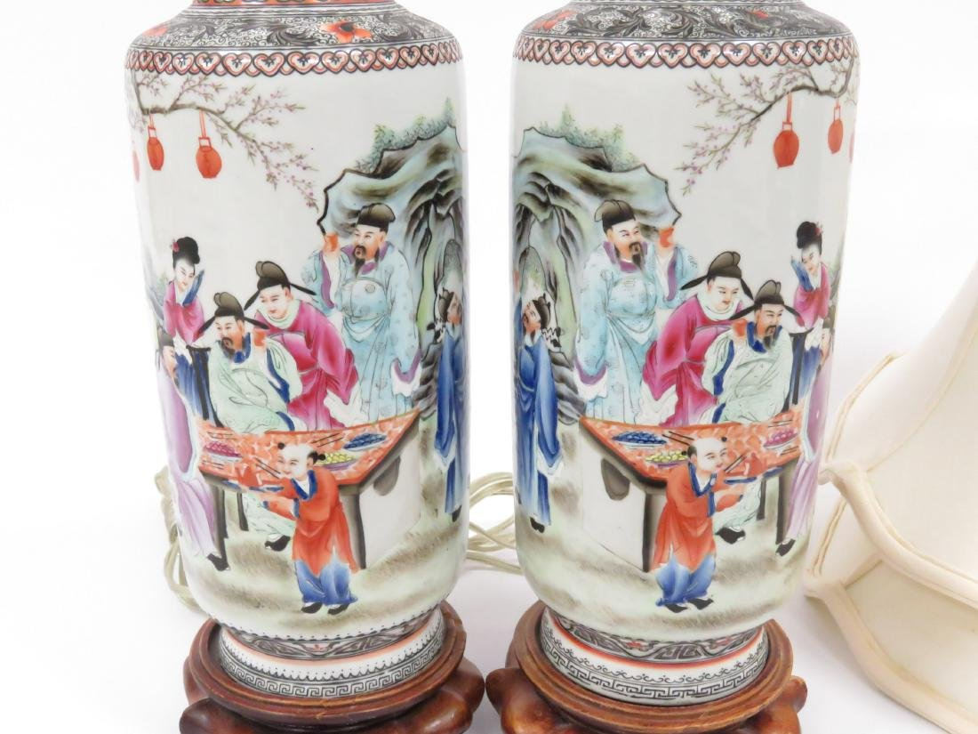 PAIR CHINESE FAMILLE ROSE DECORATED PORCELAIN ROLEAU - 3