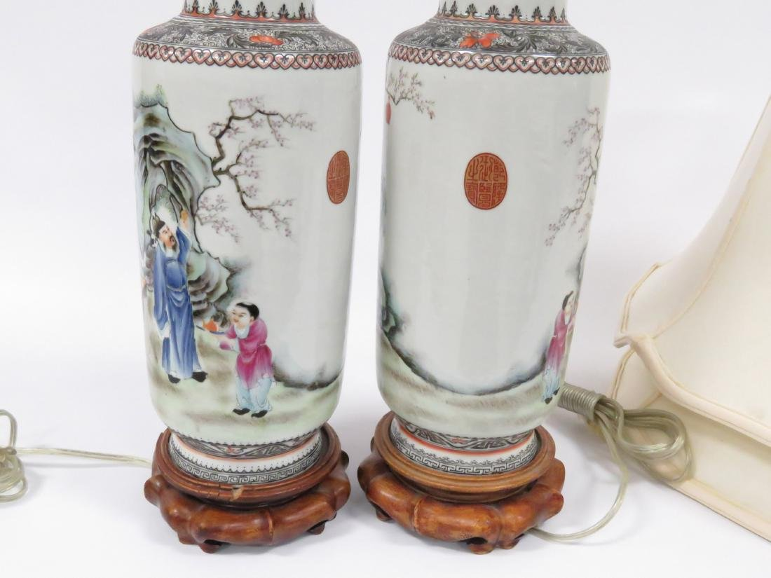 PAIR CHINESE FAMILLE ROSE DECORATED PORCELAIN ROLEAU - 4