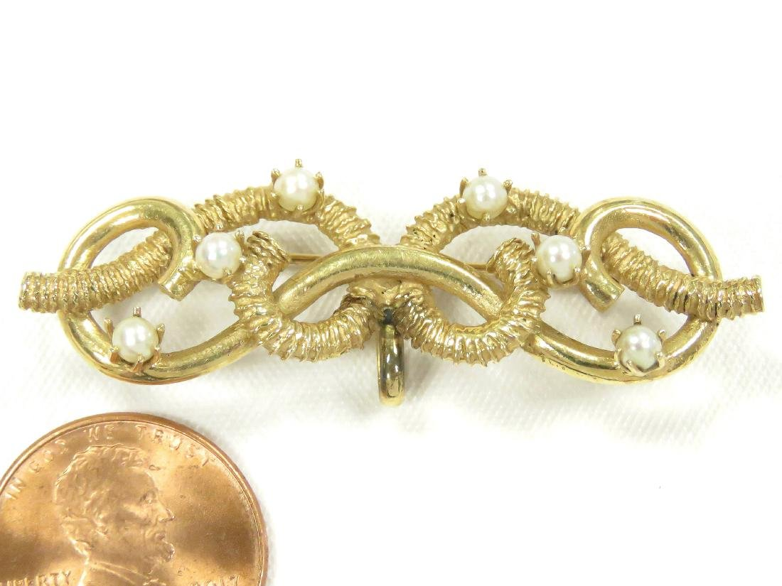 14K YELLOW GOLD AND SEED PEARL ROPE TWIST BAR