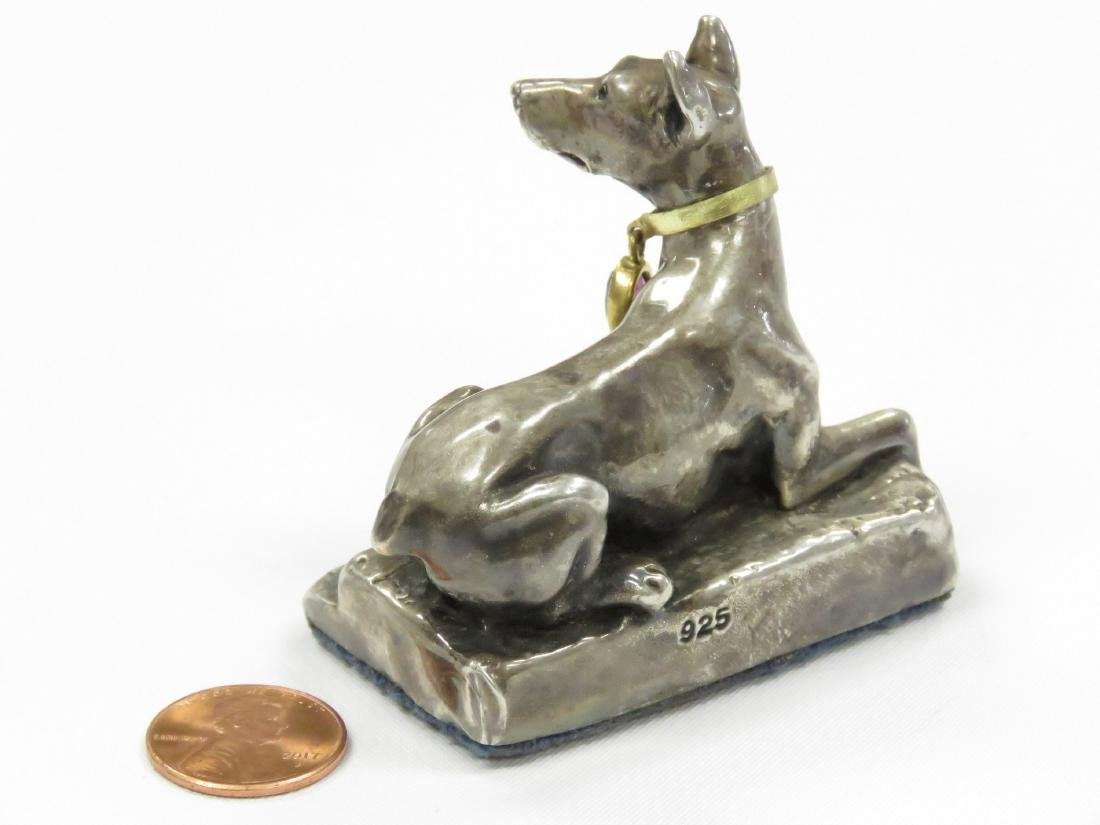 CONTINENTAL SILVER (.925) SEATED DOG WITH AMETHYST - 2