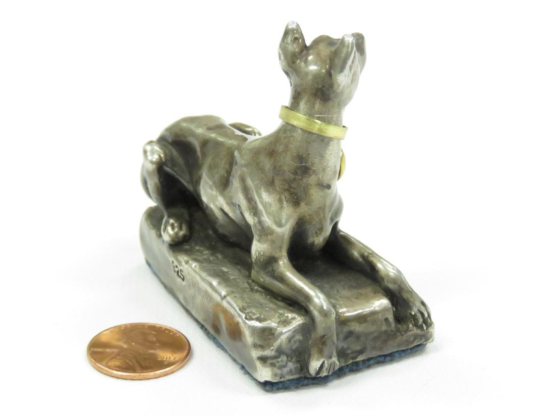 CONTINENTAL SILVER (.925) SEATED DOG WITH AMETHYST - 3