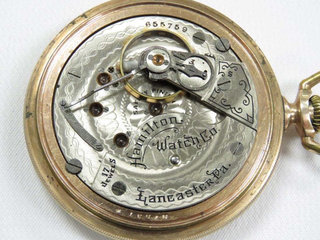LOT (2) VINTAGE HAMILTON GOLD FILLED 17 JEWEL OPEN FACE - 3