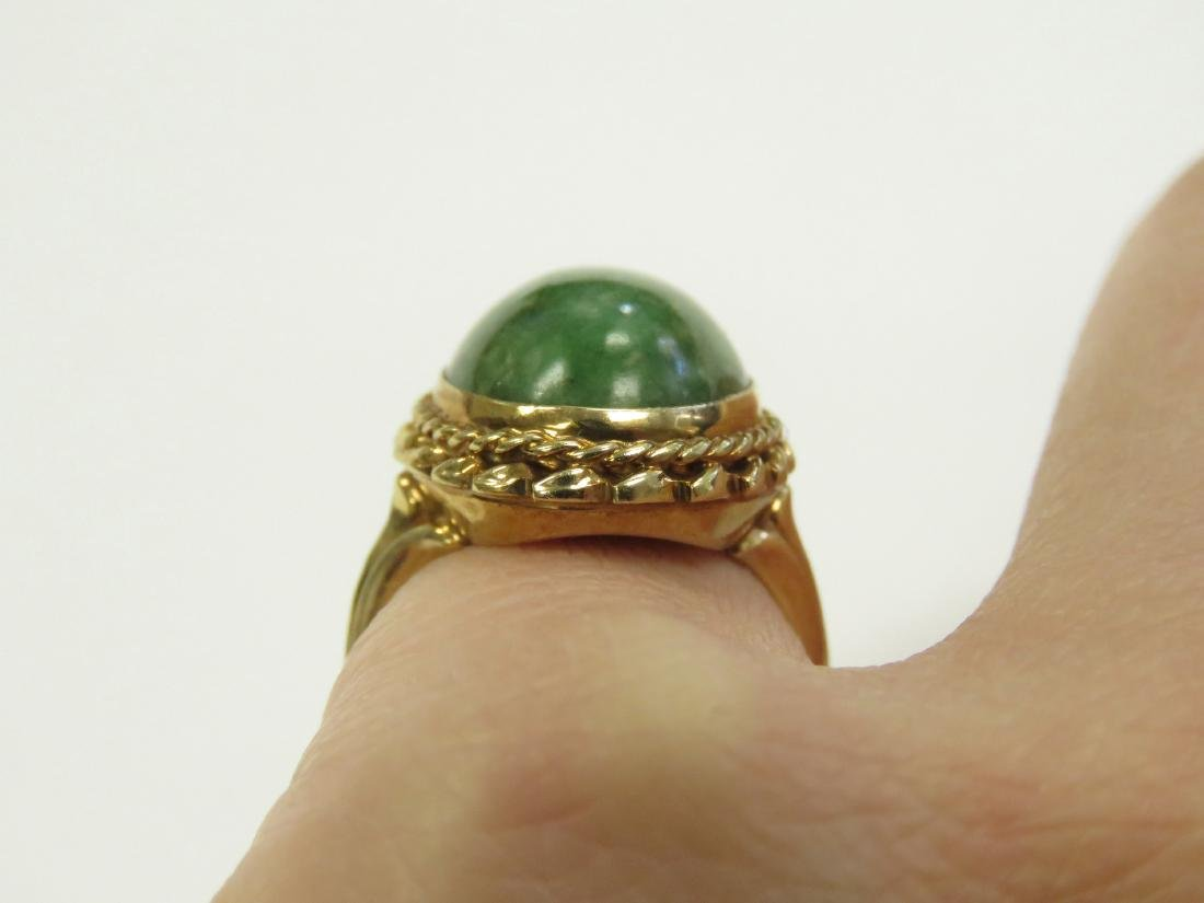 14K YELLOW GOLD AND CABOCHON GREEN HARDSTONE RING. RING - 2