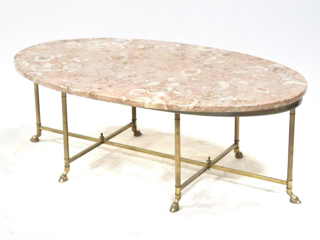 DESIGNER MODERN OVAL BRASS LOW TABLE WITH MARBLE TOP.