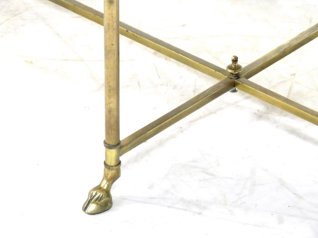 DESIGNER MODERN OVAL BRASS LOW TABLE WITH MARBLE TOP. - 2