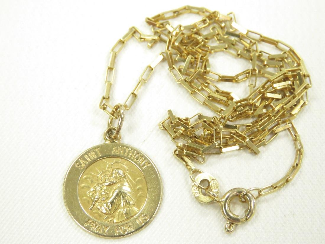 14K YELLOW GOLD CHAIN WITH ST. ANTHONY PENDANT/CHARM.