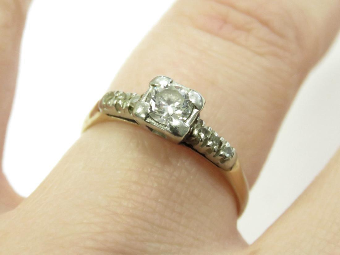 14K YELLOW/WHITE GOLD 0.25 CT DIAMOND ENGAGEMENT RING.