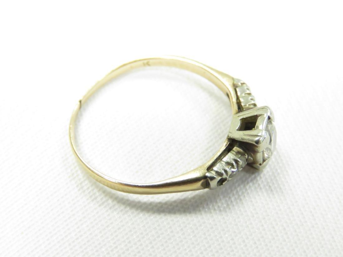 14K YELLOW/WHITE GOLD 0.25 CT DIAMOND ENGAGEMENT RING. - 2