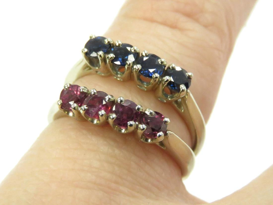 LOT (2) 14K YELLOW GOLD SAPPHIRE AND RUBY RINGS. RING