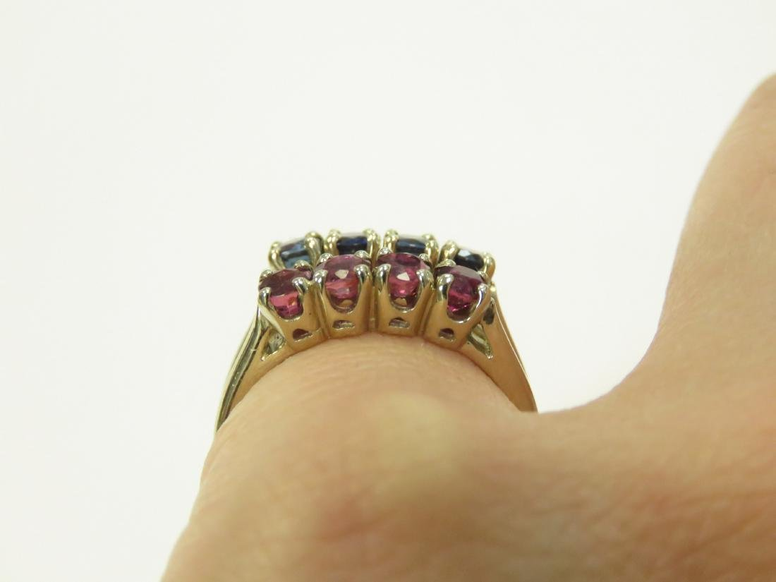 LOT (2) 14K YELLOW GOLD SAPPHIRE AND RUBY RINGS. RING - 2
