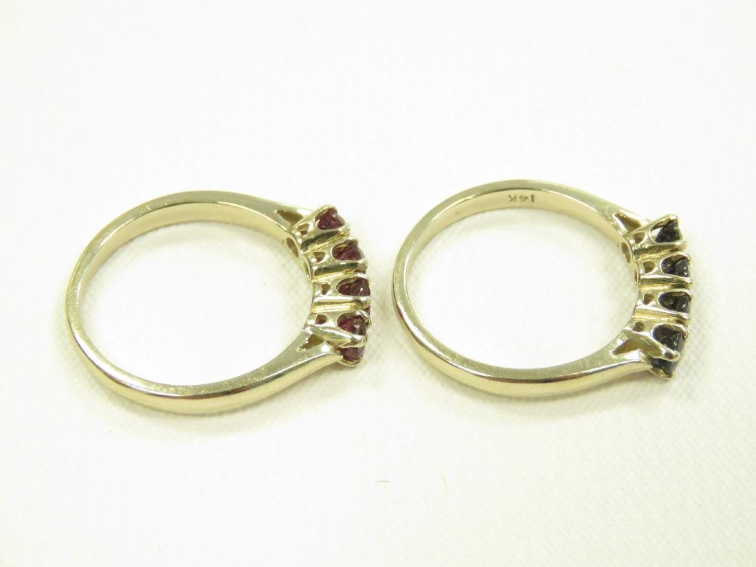LOT (2) 14K YELLOW GOLD SAPPHIRE AND RUBY RINGS. RING - 3