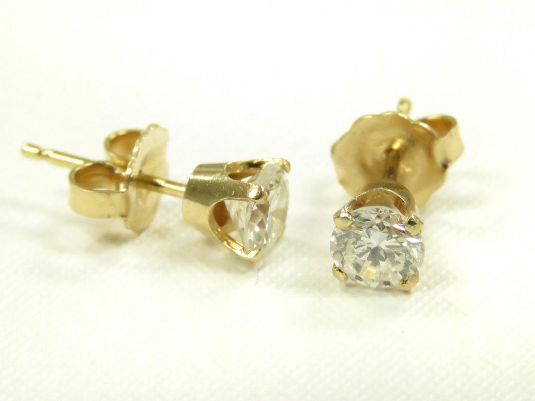 PAIR 14K YELLOW GOLD AND DIAMOND PIERCED EARRINGS,