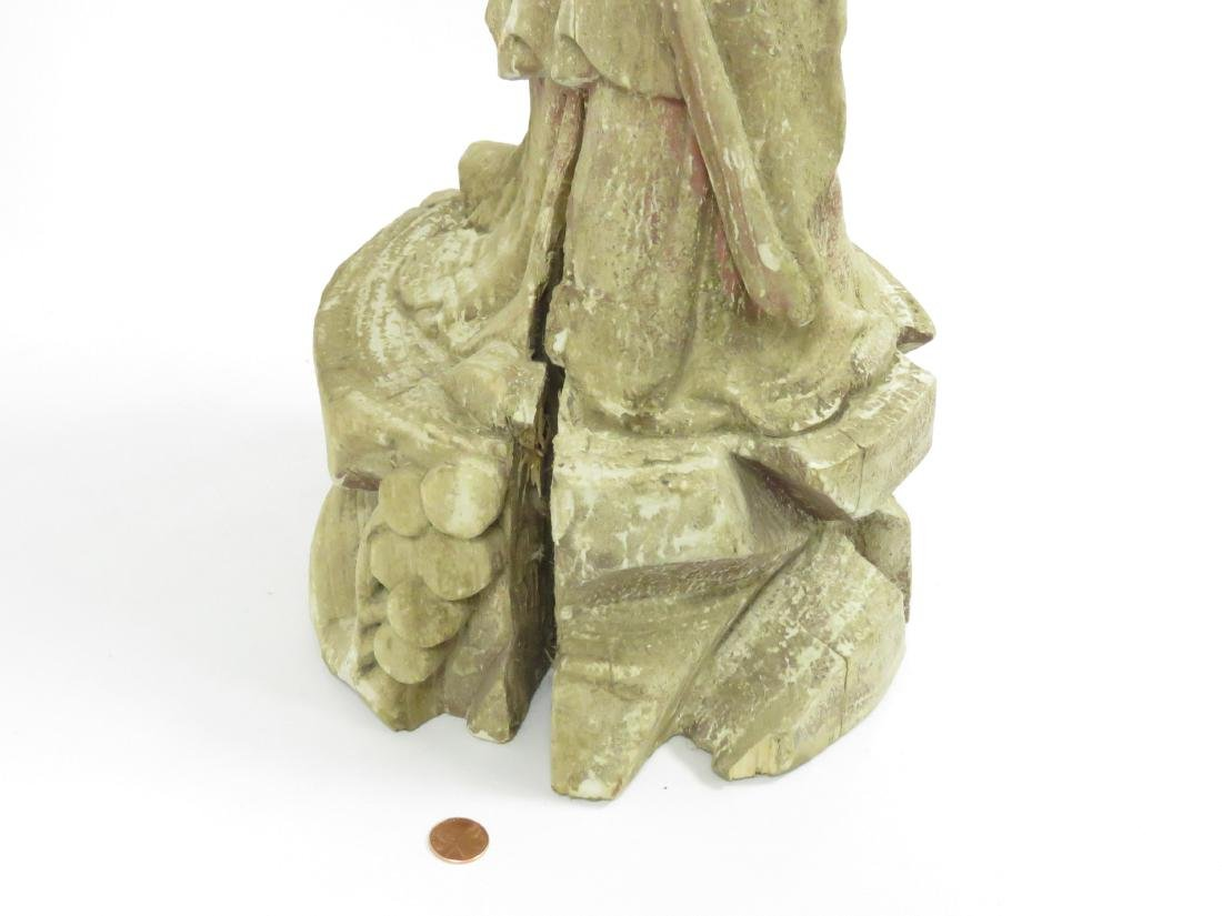 CHINESE CARVED AND PAINTED WOOD FIGURE OF A LOHAN, - 5