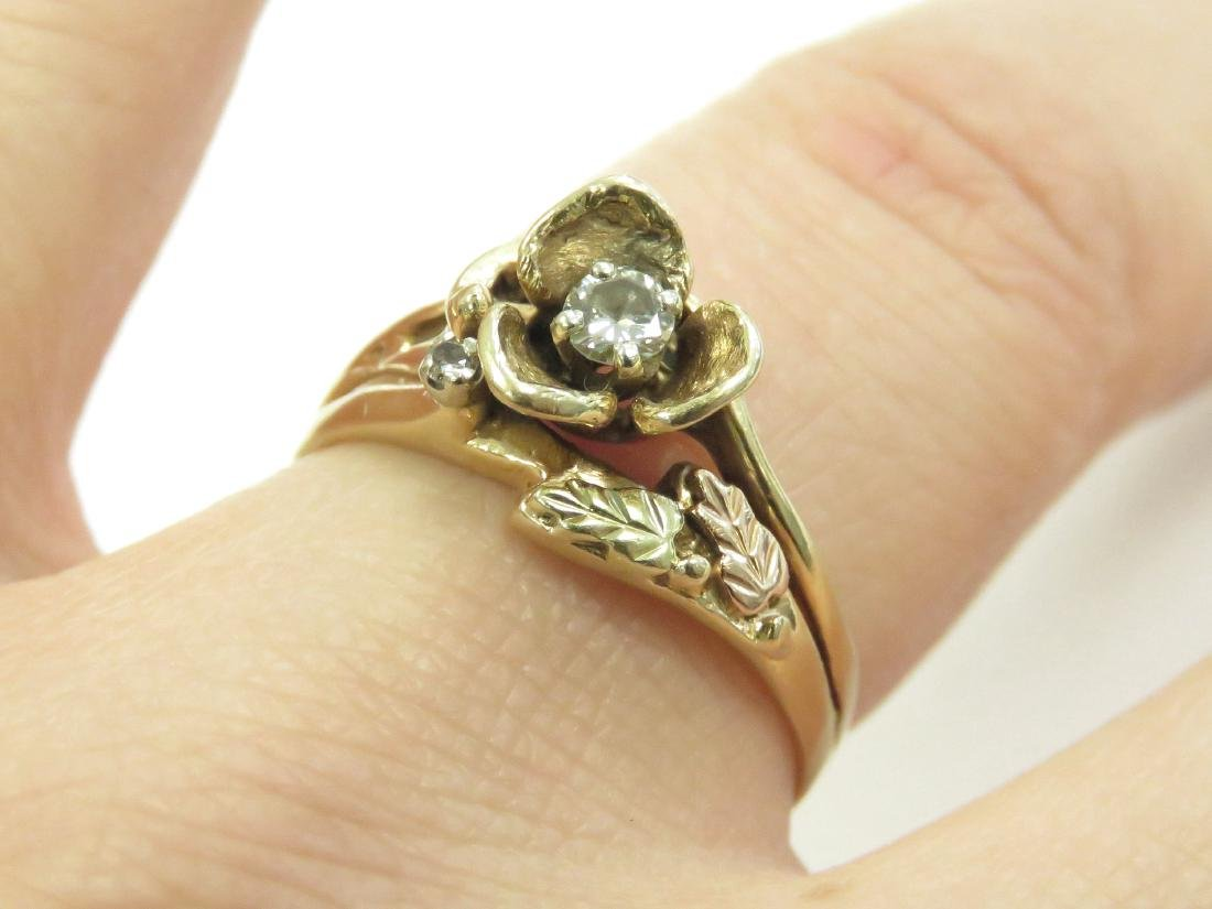 14K YELLOW GOLD FLORAL RING WITH 3.0 MM FULL-CUT