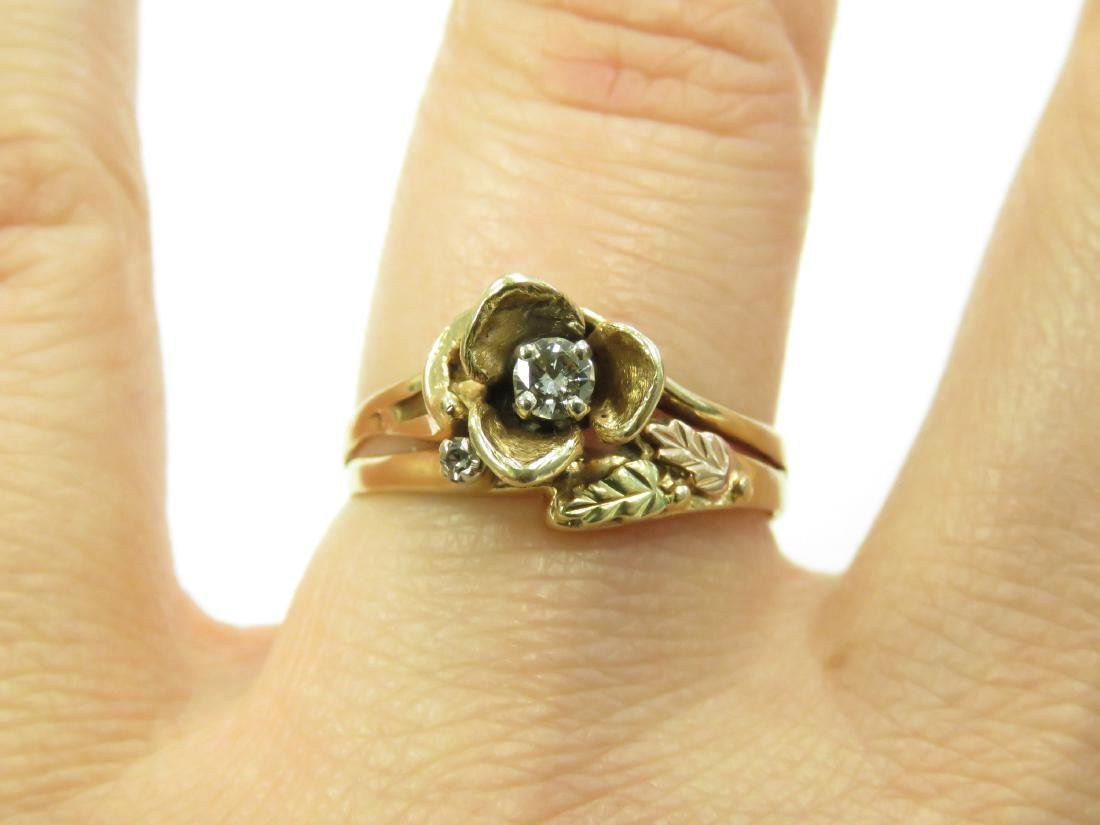 14K YELLOW GOLD FLORAL RING WITH 3.0 MM FULL-CUT - 2