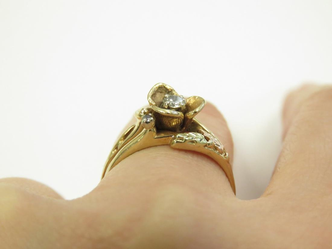 14K YELLOW GOLD FLORAL RING WITH 3.0 MM FULL-CUT - 3