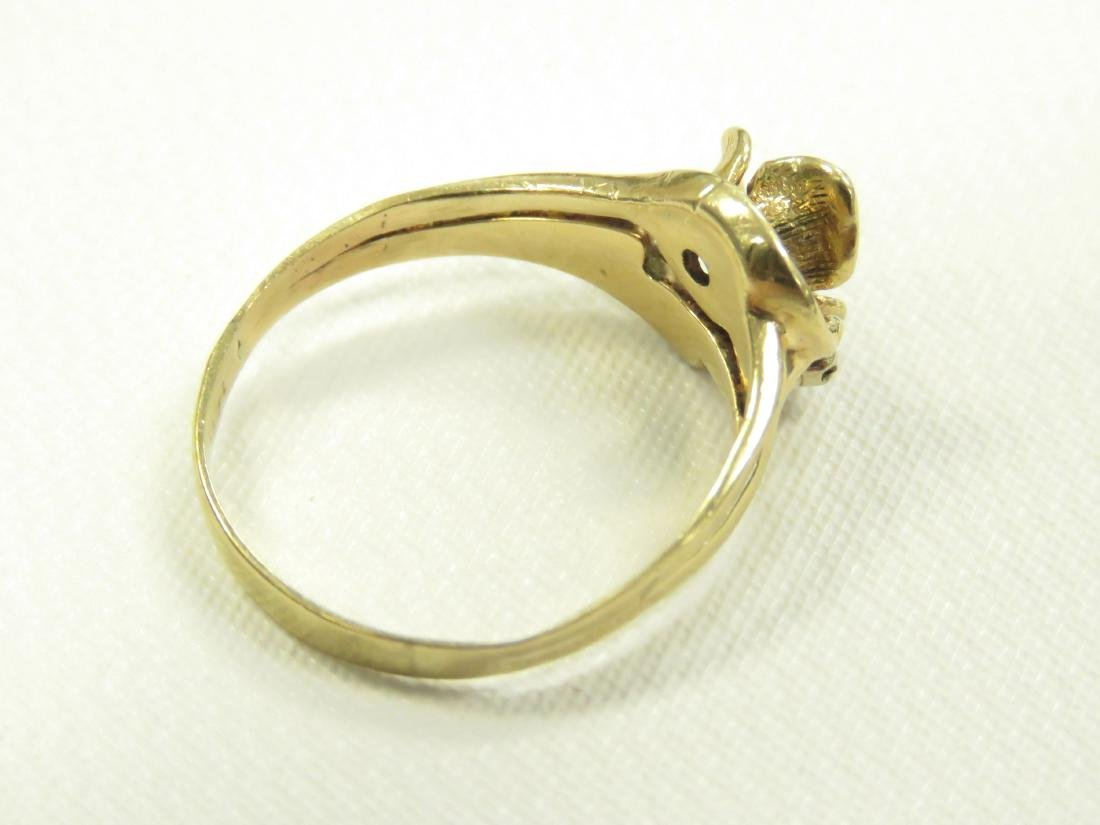 14K YELLOW GOLD FLORAL RING WITH 3.0 MM FULL-CUT - 4