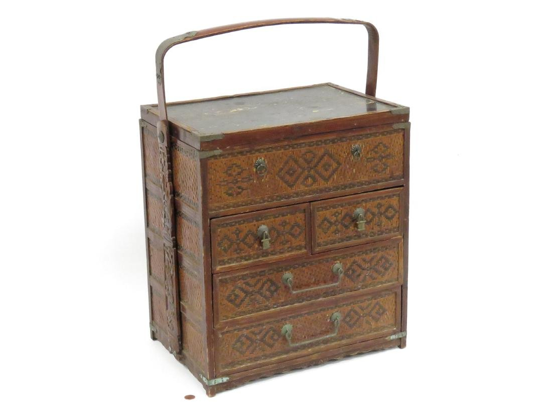 "CHINESE WOVEN BAMBOO TRAVELING CABINET. HEIGHT 24"";"