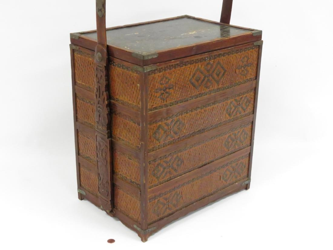 "CHINESE WOVEN BAMBOO TRAVELING CABINET. HEIGHT 24""; - 4"