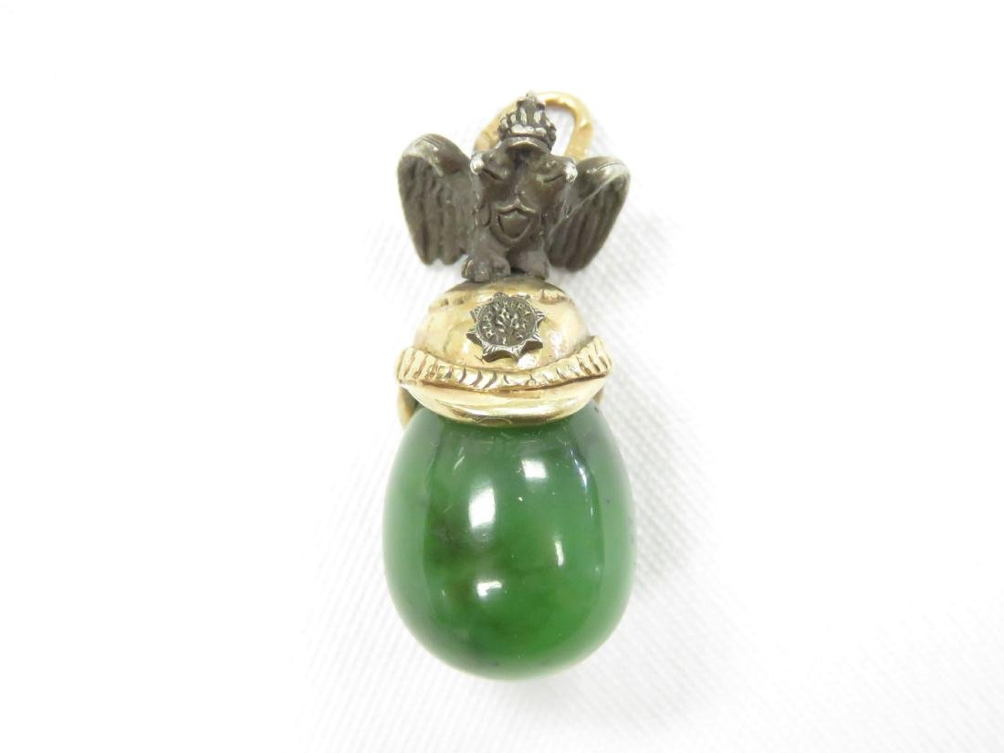 IMPERIAL RUSSIAN GOLD, SILVER AND SERPENTINE PENDANT. - 2