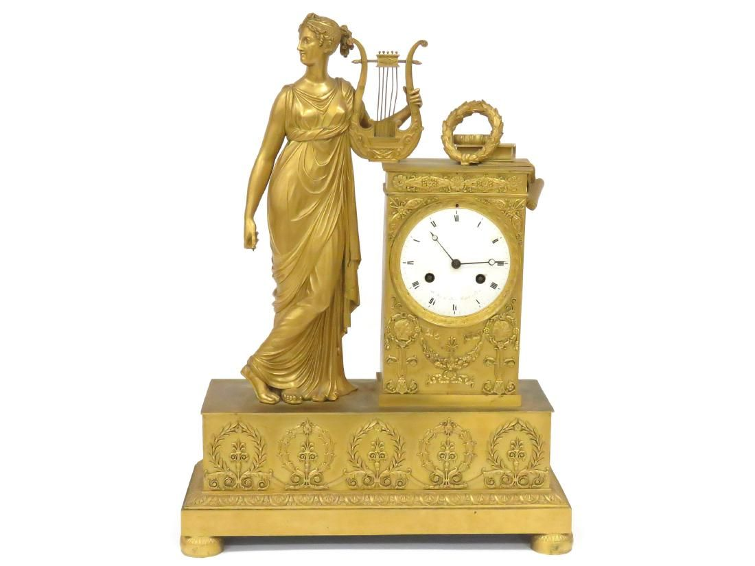 FRENCH EMPIRE GILT BRONZE FIGURAL MANTLE CLOCK, DIAL