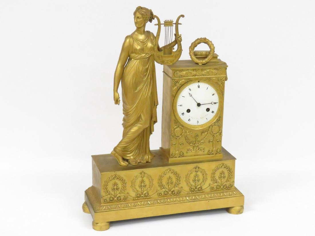 FRENCH EMPIRE GILT BRONZE FIGURAL MANTLE CLOCK, DIAL - 2