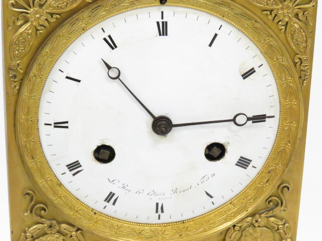 FRENCH EMPIRE GILT BRONZE FIGURAL MANTLE CLOCK, DIAL - 3