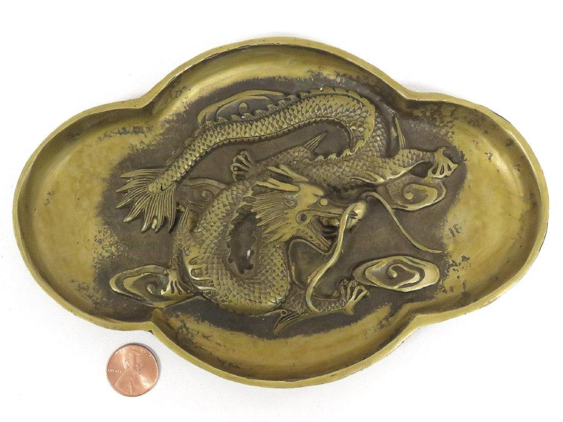 CHINESE BRONZE DRAGON DISH, BEARING CH'IEN LUNG MARK. 5