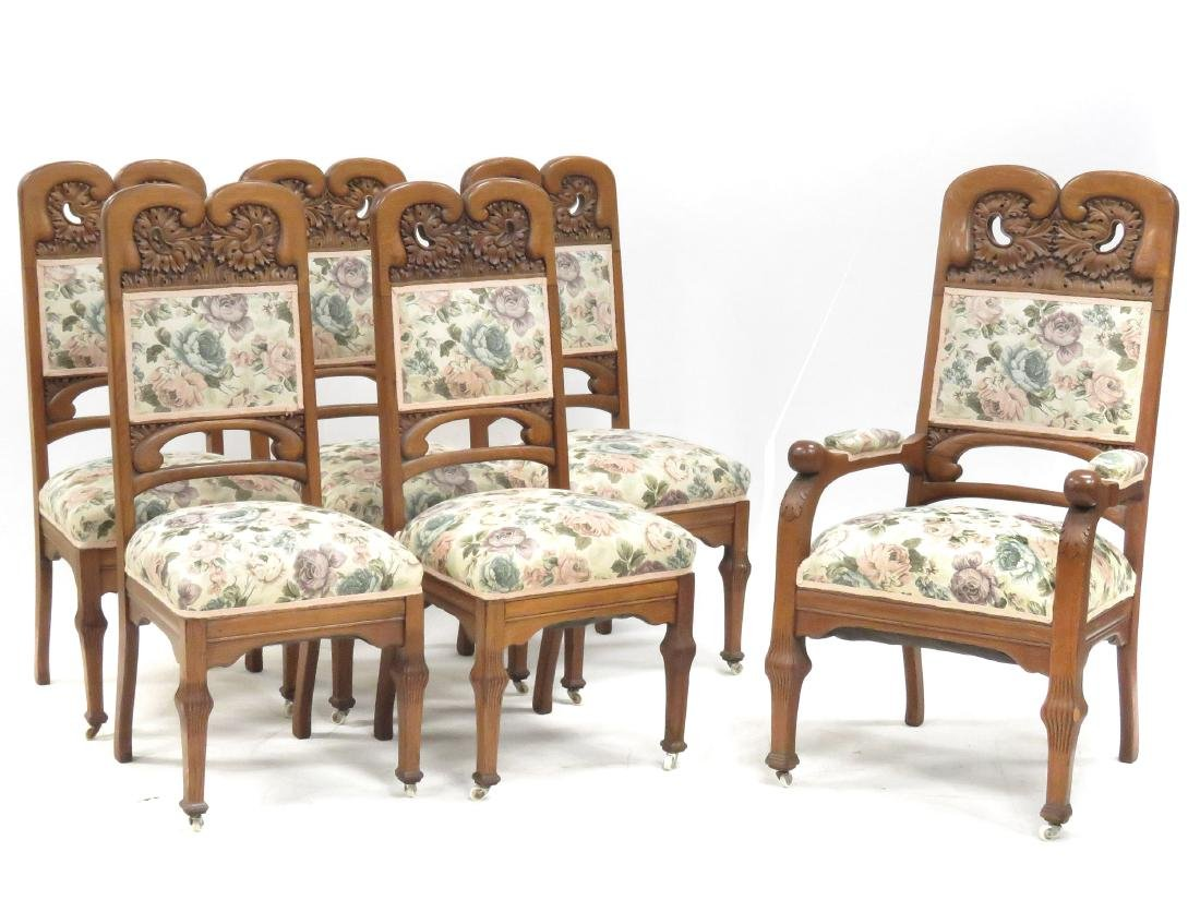 SET (6) AESTHETIC CARVED OAK AND UPHOLSTERED DINING