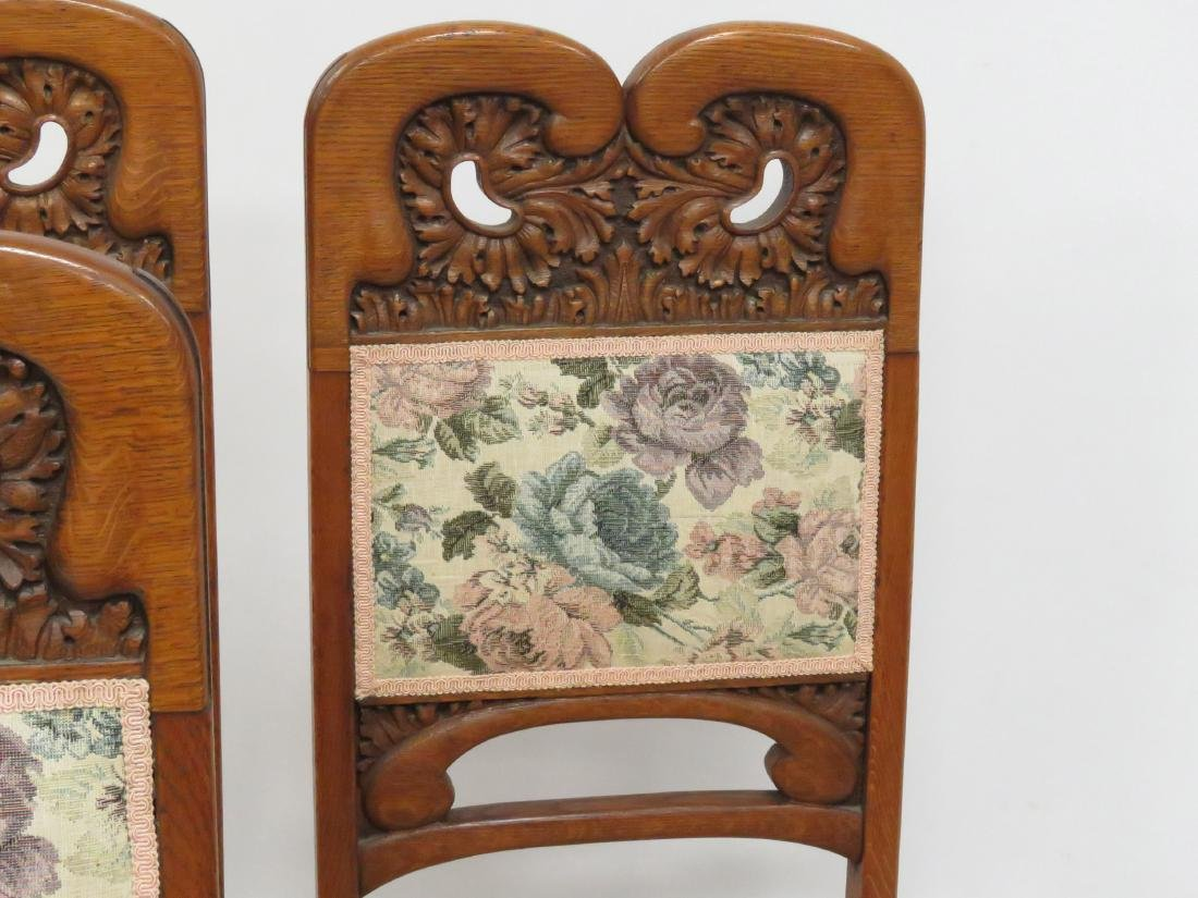 SET (6) AESTHETIC CARVED OAK AND UPHOLSTERED DINING - 2