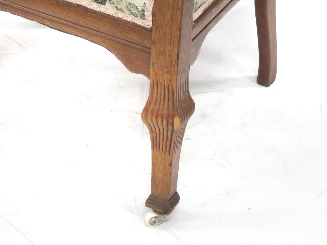 SET (6) AESTHETIC CARVED OAK AND UPHOLSTERED DINING - 3