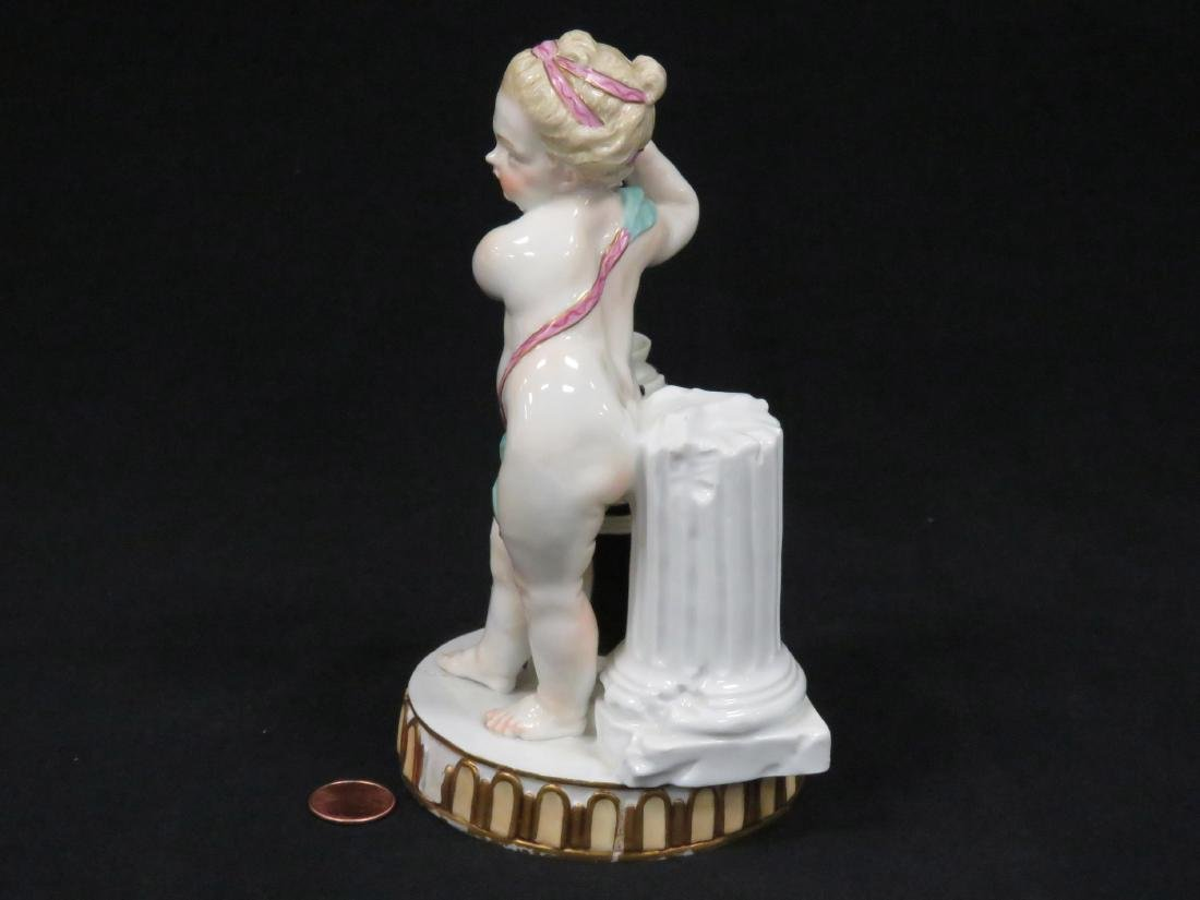 MEISSEN DECORATED PORCELAIN FIGURE OF PUTTI AT A BUTTER - 2