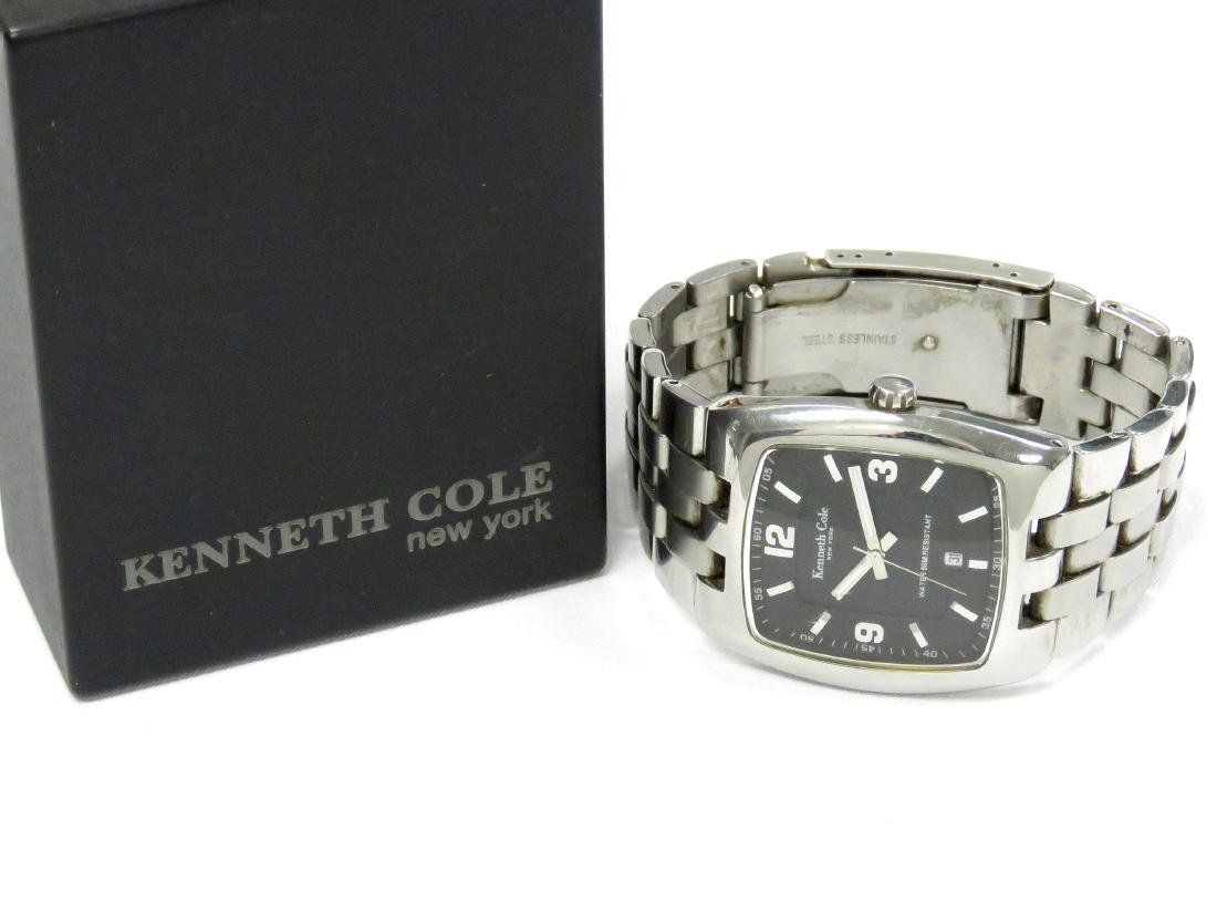 KENNETH COLE STAINLESS QUARTZ DATE-JUST WRISTWATCH WITH