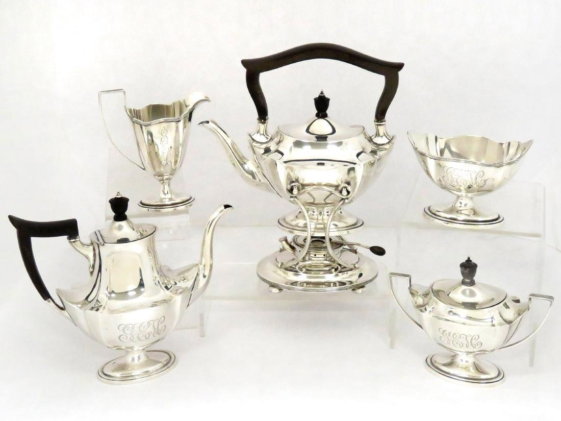 """SET (5) GORHAM """"PLYMOUTH"""" STERLING TEA SERVICE, #A2415,"""