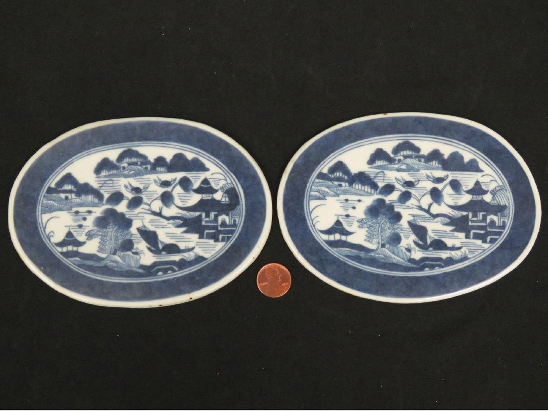 LOT (2) CHINESE CANTON EXPORT OVAL TRIVETS. 4 X 5 1/2""