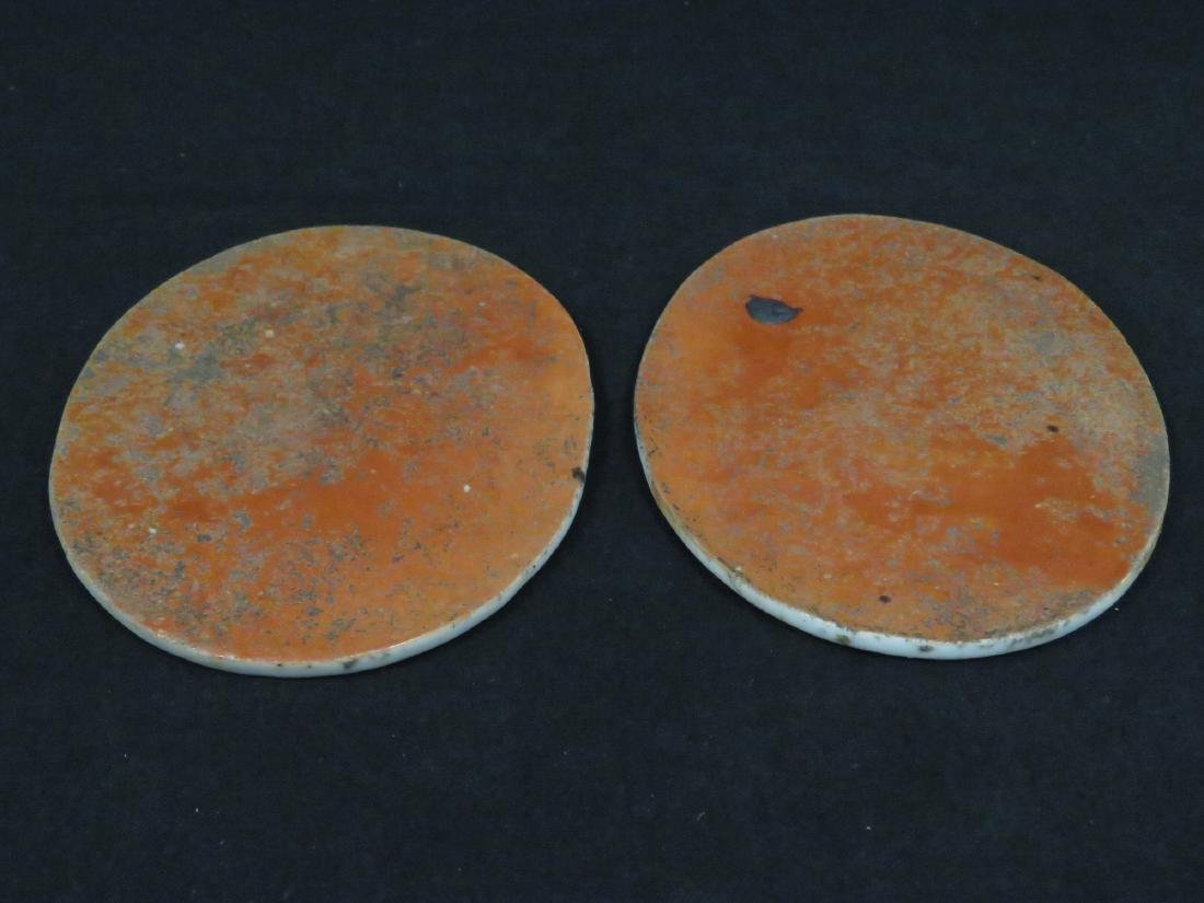 "LOT (2) CHINESE CANTON EXPORT OVAL TRIVETS. 4 X 5 1/2"" - 2"
