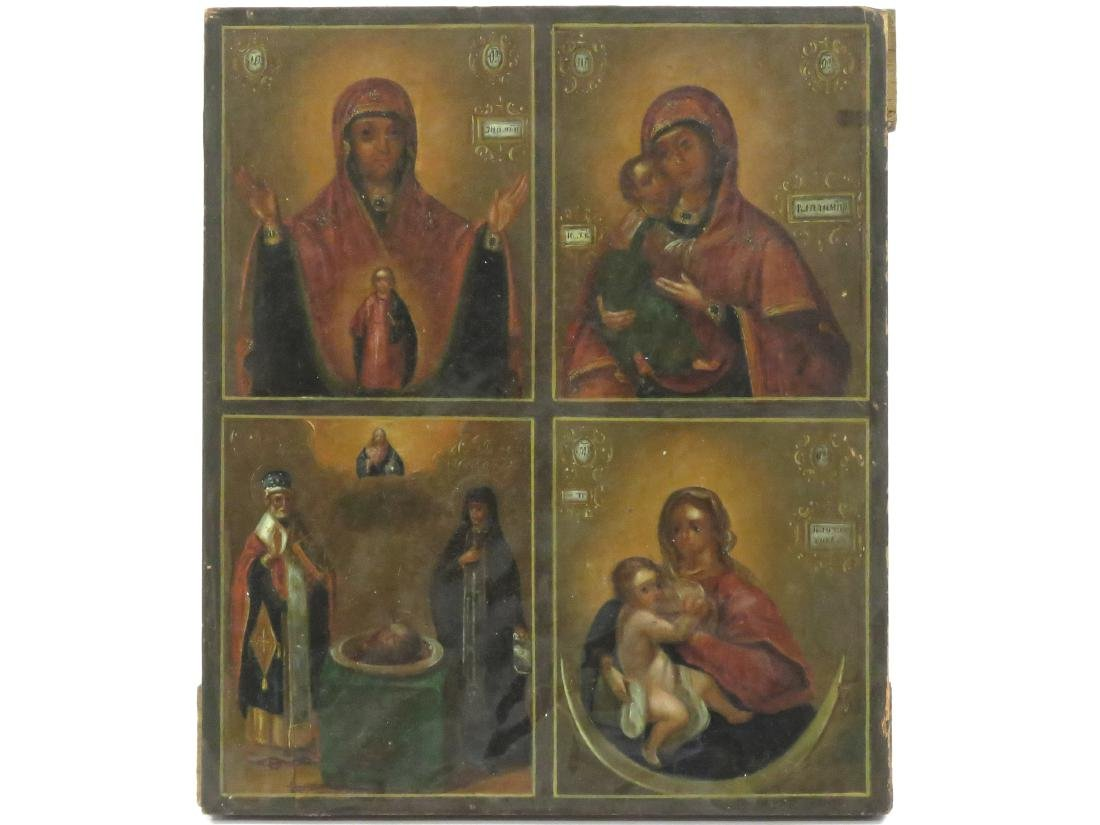 RUSSIAN 4-PART ICON INCLUDING MOTHER OF GOD, CHRIST THE