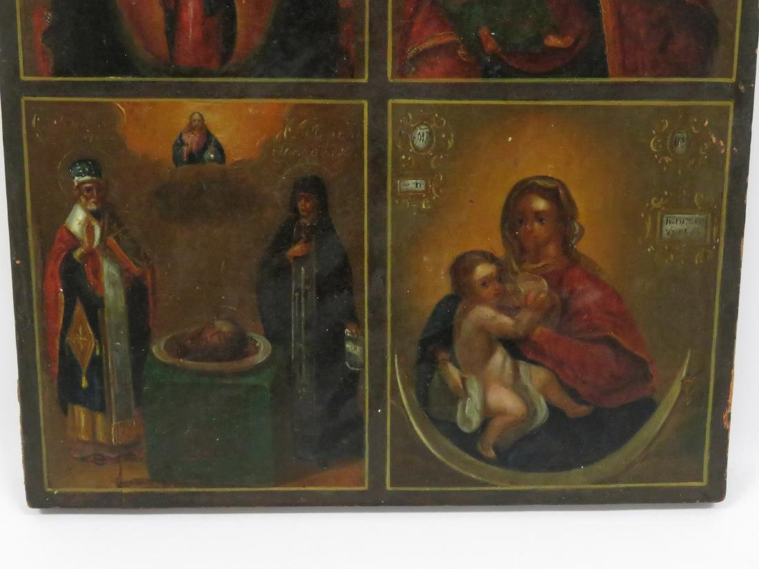 RUSSIAN 4-PART ICON INCLUDING MOTHER OF GOD, CHRIST THE - 4
