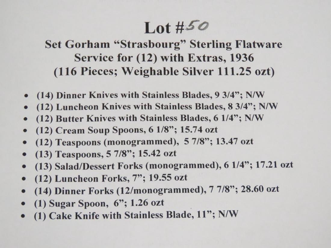 """GORHAM STERLING """"STRASBOURG"""" STERLING FLATWARE SERVICE - 4"""