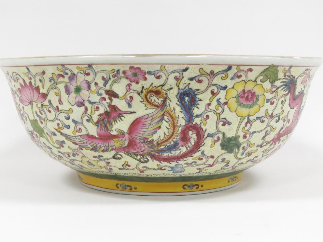 CHINESE FAMILLE ROSE DECORATED PORCELAIN PUNCH BOWL, - 2