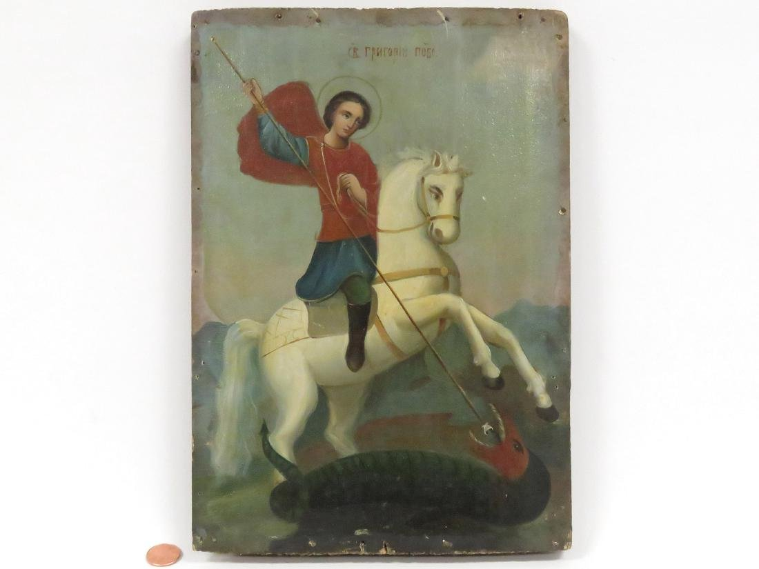RUSSIAN ICON, ST. GEORGE SLAYING THE DRAGON. 11 3/4 X 8