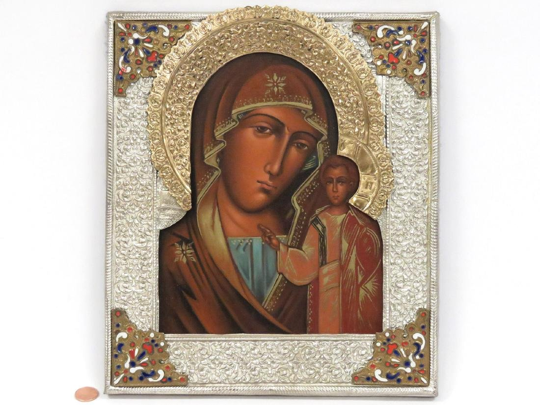 RUSSIAN ICON, MOTHER OF GOD WITH ENAMELED OKLAD. 12 X