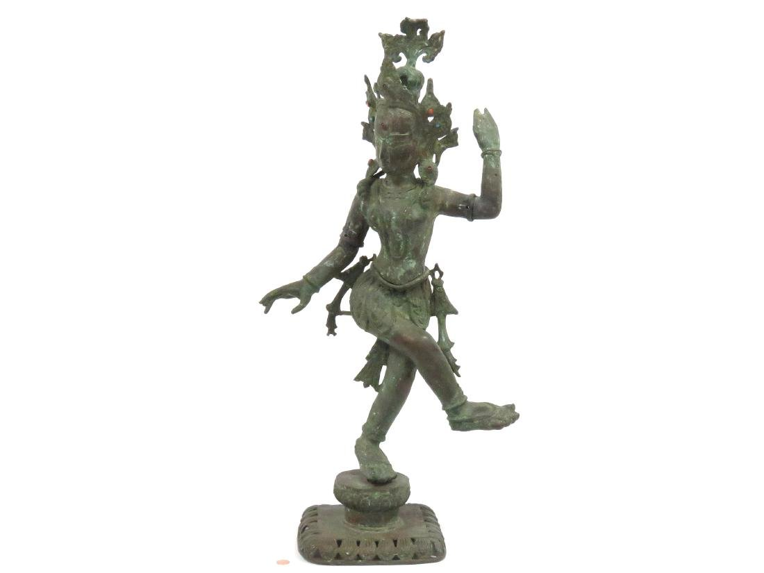 INDIAN BRONZE DANCING FIGURE WITH GEM STONE MOUNTS.