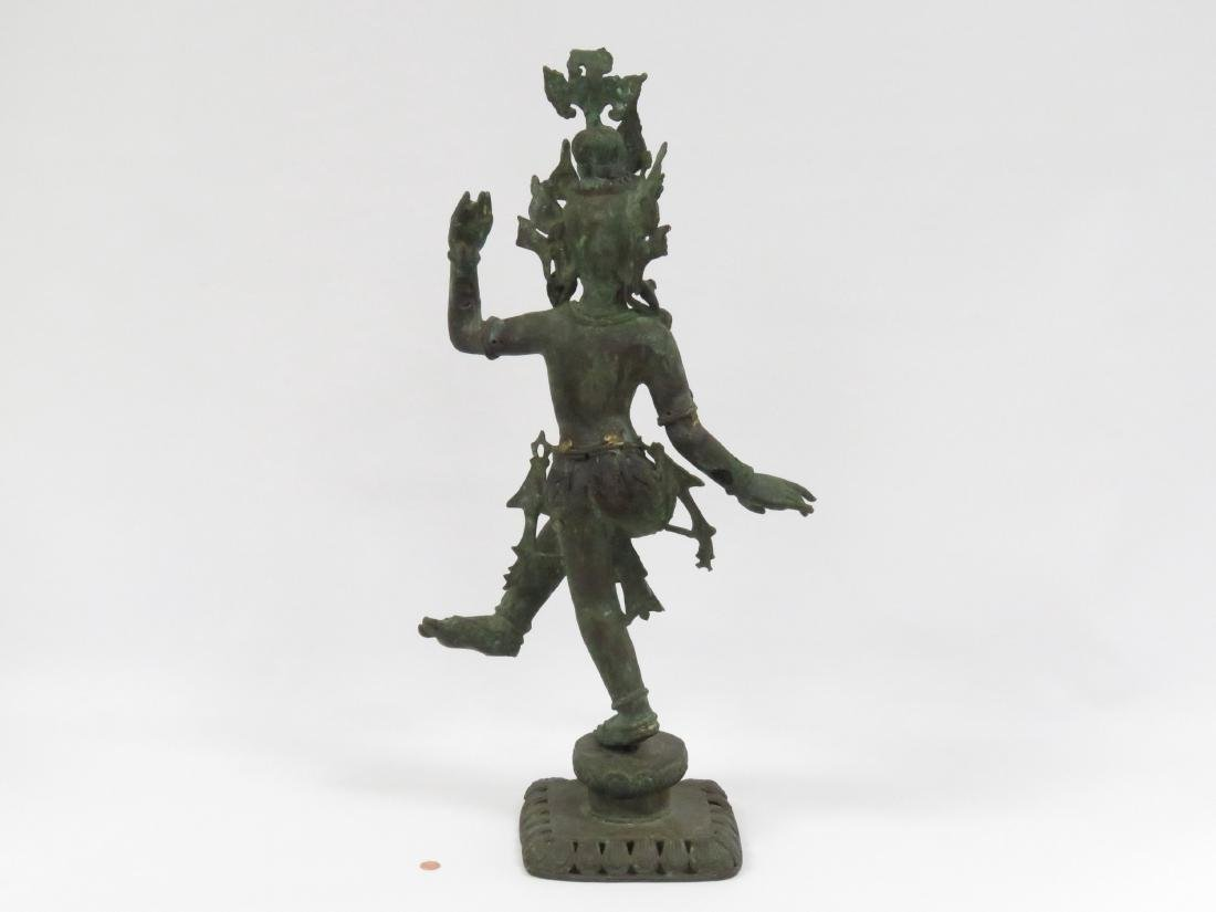 INDIAN BRONZE DANCING FIGURE WITH GEM STONE MOUNTS. - 3