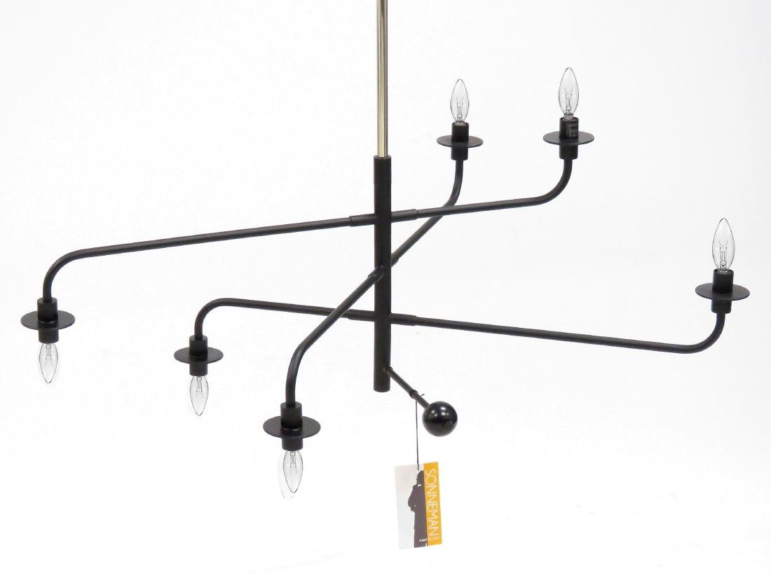 "SONNEMAN SATIN BLACK ""ATELIER"" 6-LIGHT PENDANT"