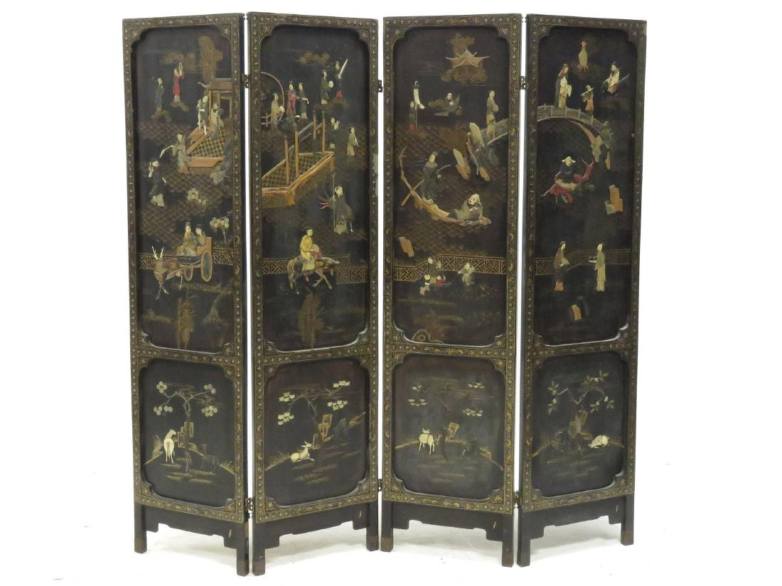 CHINESE GILT DECORATED AND HARD STONE MOUNTED 4-PANEL
