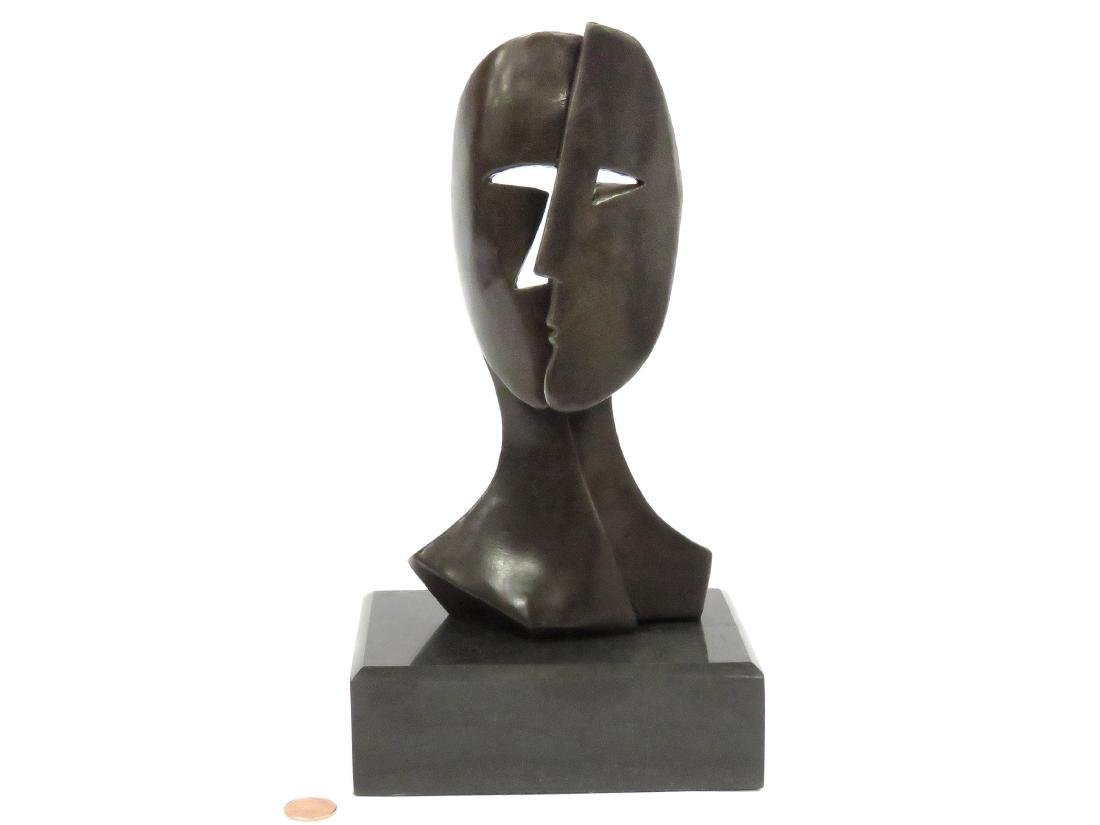 SIGNED PICASSO, BRONZE DOUBLE FACE. HEIGHT 11""
