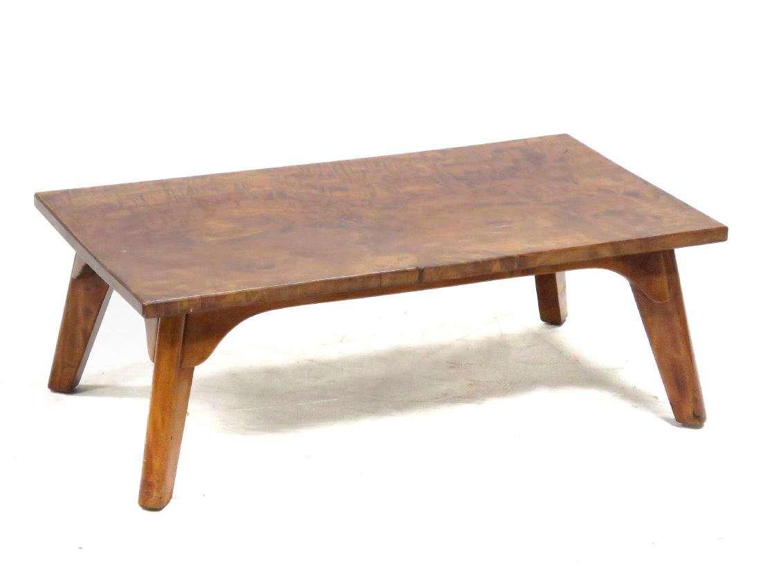 CRAFTSMAN MADE BURL MAHOGANY LOW TABLE, C.1930. HEIGHT